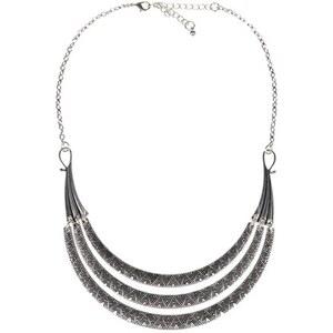 Collier multirangs motif géométrique Gris Metal - Femme Taille T.U - Cache Cache