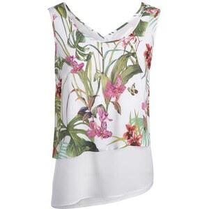 Blouse 2 en 1 panneau imprimé Blanc Polyester - Femme Taille 40 - Bréal