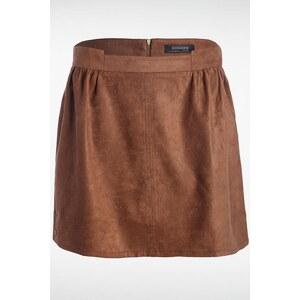 Jupe femme suédine plis Marron Polyester - Femme Taille 34 - Bonobo