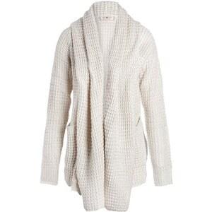 Gilet col châle en maille fantaisie Beige Acrylique - Femme Taille 0 - Cache Cache