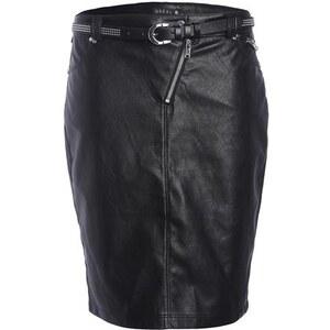 Jupe faux cuir zippée ceinture Noir Polyurethanne - Femme Taille 40 - Bréal