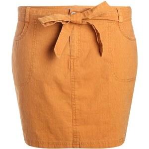Jupe droite unie ceinture à nouer Jaune Coton - Femme Taille 34 - Cache Cache