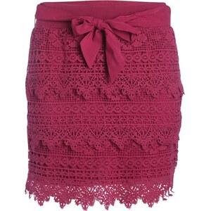 Jupe macramé volantée Rouge Coton - Femme Taille 34 - Cache Cache