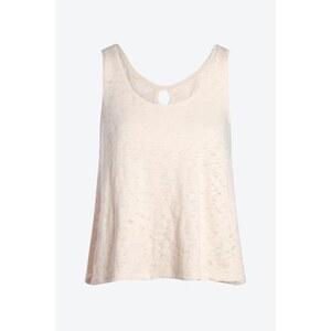 T-shirt femme macramé dos Beige Coton - Femme Taille L - Bonobo