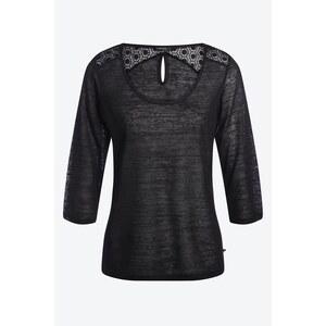 T-shirt femme maille dévorée dentelle Noir Polyester - Femme Taille M - Bonobo
