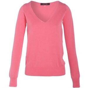 Pull col V uni maille fine Rose Coton - Femme Taille 0 - Cache Cache