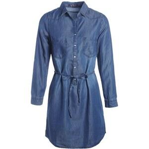 Robe denim manches longues & ceinture Bleu Coton - Femme Taille 34 - Cache Cache