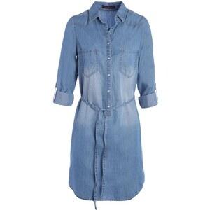 Robe denim manches longues & ceinture Bleu Coton - Femme Taille 36 - Cache Cache