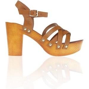 Sandale plateforme lanières Orange Synthetique (polyurethane) - Femme Taille 37 - Cache Cache