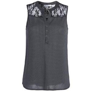 Top dentelle et tissu à pois Noir Elasthanne - Femme Taille 0 - Cache Cache