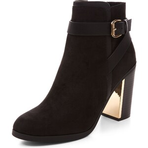 New Look Schwarze Stiefeletten mit Blockabsatz, Riemen und Schnalle