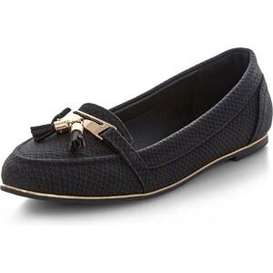 New Look Schwarze Loafer mit Kroko-textur und Quasten