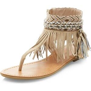 New Look Beige Sandalen aus Wildlederimitat mit T-steg und Fransen