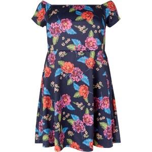 New Look Curves – Marineblaues, schulterfreies Kleid mit Blumenmuster