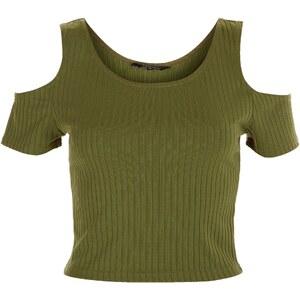 New Look Geripptes Crop Top mit Schulterausschnitten in Khaki