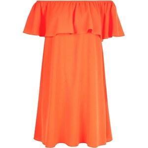 New Look Rotes schulterfreies Kleid mit R�schenbesatz