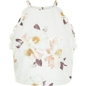 New Look Weißes Crop Top mit Blumenmuster und Bogensaum