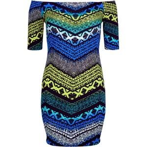 New Look Schulterfreies, figurbetontes Kleid mit ethnischem Zickzackmuster in Blau