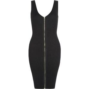 New Look Apricot ? Schwarzes geripptes Kleid mit Reißverschluss vorne