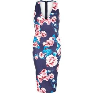 New Look Ax Paris - Robe mi-longue bleu marine à imprimé floral et col en V