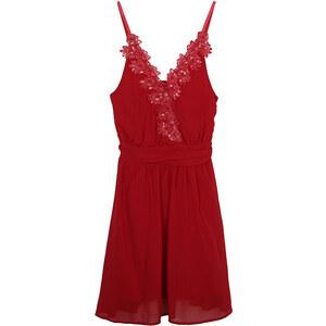 Lesara Partykleid mit floraler Bordüre - Rot - S