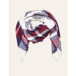 écharpe à carreaux écrue, bleu marine et rouge Jennyfer
