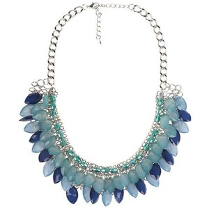Collier pétales multicolores Bleu Verre - Femme Taille TU - Bréal