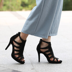Lesara High Heels-Sandalette mit Nieten - 36