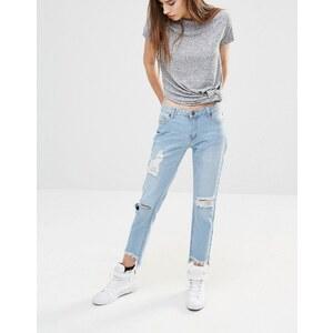 Liquor & Poker - Knöchellange Boyfriend-Jeans mit gestepptem Saum im Used-Look - Verwaschenes Mittelblau