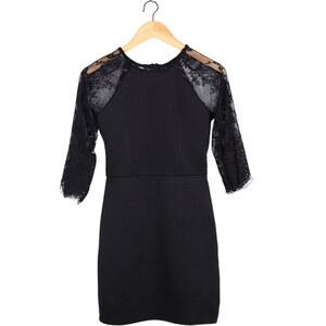 Lesara Kleid mit Spitzen-Ärmeln - Schwarz - L