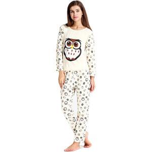 Lesara Pyjama mit Eulen-Print - Weiß - XL