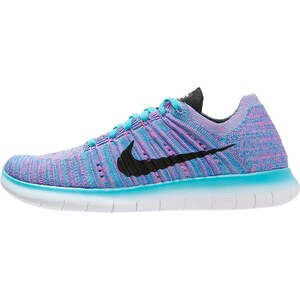 Nike Performance FREE RUN FLYKNIT Laufschuh Natural running gamma blue/black/photo blue/pink blast