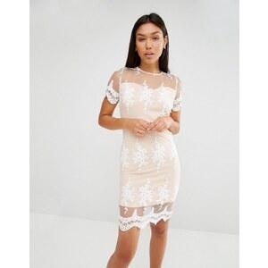 Club L - Kleid mit Spitzenapplikation und rundgezacktem Saum - Weiß