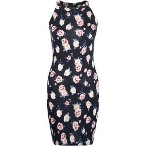 New Look Teenager – Figurbetontes, hochgeschnittenes Kleid in Schwarz mit Blumenmuster
