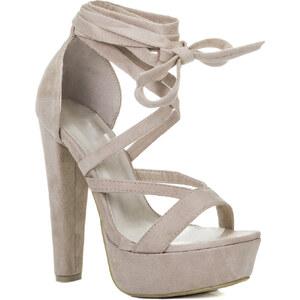 Sandalen NOXX Damen Schnür Blockabsatz Sandalen Schuhe Pumps - Beige von Spylovebuy