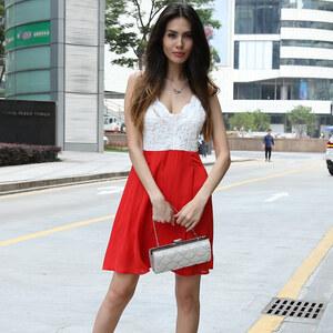 Lesara Kleid mit Spitzen-Oberteil - S