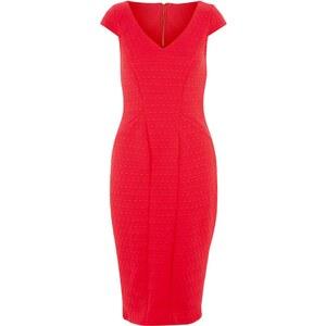 New Look Closet - Robe rouge mi-longue texturée à col en V