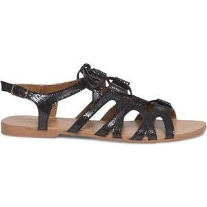 Eram Sandale plate lacet cuir noire scintillante