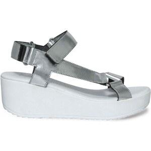 Eram sandales compensées argentées