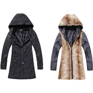 Lesara 2-in-1-Damen-Mantel mit Kunstfell-Fütterung - Schwarz - XS