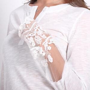 Lesara Langarmshirt mit Spitzen-Details - Weiß - L