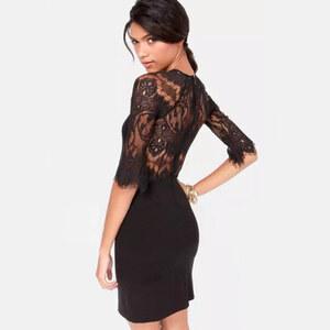 Lesara Kleid mit Ärmel-Spitze - Schwarz - L