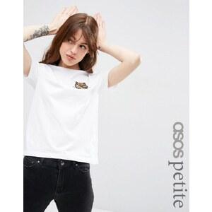 ASOS PETITE - T-shirt avec écusson chat à sequins - Blanc