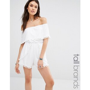 Missguided Tall - Combishort style Bardot orné de pompons - Blanc