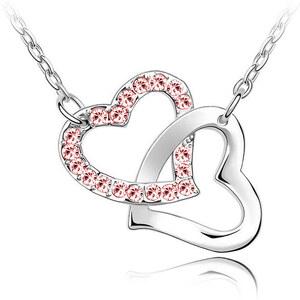 Lesara Weißgold plattierte Herz-in-Herz-Halskette - Pink