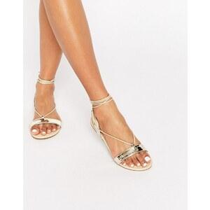 ASOS - FLAWLESS - Sandales avec lien à nouer sur la jambe - Doré