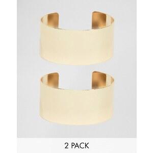 ASOS - Lot de 2 bracelets manchettes minimalistes - Doré