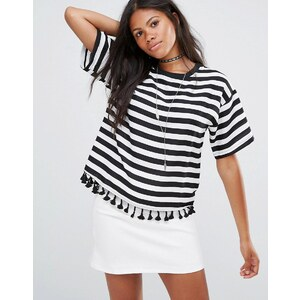 Amy Lynn - T-shirt rayé avec bordure à pompons - Multi