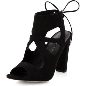 New Look Schwarze Sandaletten aus Wildlederimitat mit Aussparungen, hinten gebunden