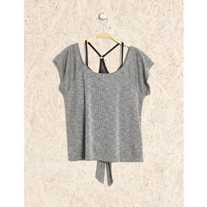 tee-shirt brassière intégrée noir et gris Jennyfer